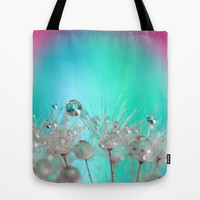 Rise Above it All - rainbow dandelion macro with droplets Tote Bag by micklyn