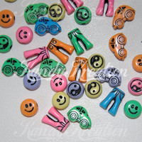 30 70's Theme Disco Happy Face Yin Yang Bug Car pony beads for kandi rave raver craft kid party favors halloween smiley funky Slugbug buggy