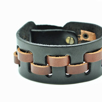 Real Leather Woven Women Leather Cuff Bracelet, Men Leather Bracelet , unisex bracelet C056