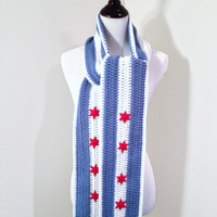Chicago Flag, Crochet Scarf, Stripe Scarf, Red Stars, Light Blue, White - MADE TO ORDER, Winter Fashion