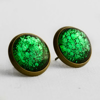 Green Chunky Glitter Post Earrings in Antique Bronze - Bright Green Mixed Hexagonal Glitter Stud Earrings
