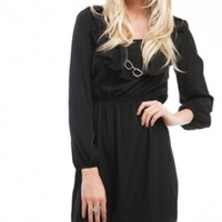 Black Ruffle Quarter Sleeve Dress