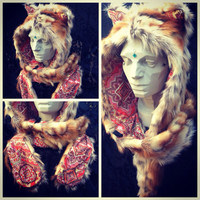 Desert Rose FOX Hood -- faux fur Natural style Orange Cream Brown luxurious -- Hat Scoodie Spirit Hood // Adult unisex Costume scarf funky