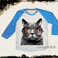 S, M, L - GALAXY CAT Glasses T-Shirts Cat T-Shirts Galaxy T-Shirts Animal T-Shirts Baseball Tee Raglan Blue Sleeve Tee Unisex Women T-Shirts