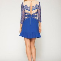 Blue and Nude Lace Open Back Dress