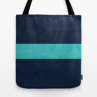 classic - navy and aqua Tote Bag by her art