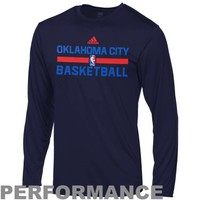 adidas Oklahoma City Thunder Preschool On-Court Long Sleeve Performance T-Shirt - Navy Blue