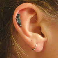 Black Angel Wing Cartilage Earring Tragus Helix Piercing