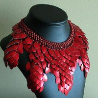 Red Scale Collar Statement Necklace by KaliButterfly