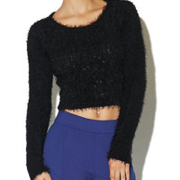 Sequin Feather Yarn Sweater | Arden B.