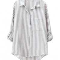 Vertical Stripes Print High Low Hem Blouse