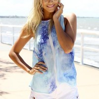Blue Snowflake Print Sleeveless Top with High Neckline