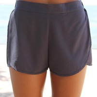 Charcoal Grey Shorts with Elastic Waist and Split Sides