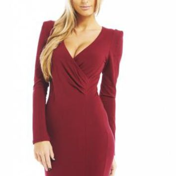 Burgundy Long Sleeve Bodycon Dress with V-Neckline