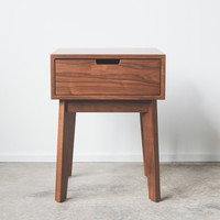 Solid Walnut Tapered Leg Nightstand
