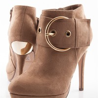Full Circle Stiletto Heel Booties - Taupe from Delicious Shoes at Lucky 21