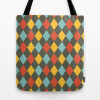 Grey Argyle Tote Bag by Louise Machado