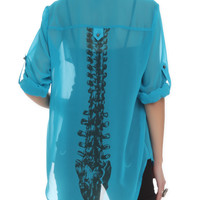 Iron Fist Turquoise Spineless Blouse Top