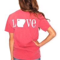 Riffraff | Love Arkansas Heart Pocketed Tee - washed red