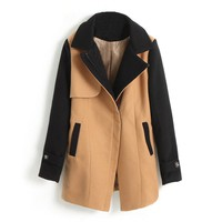 ZLYC Women's Colorblock Wool Coat