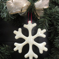 Handcrafted Glass Snowflake, Snowflake Tree Ornament, Art Glass Snowflake, Hostess Gift, Teacher Gift, Holiday Gift, Christmas Snowflake