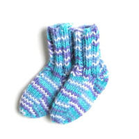 Hand Knit Baby Socks in Multicolor Blue Purple 3 - 12 Months Childrens Socks - Winter Clothing Accessory Boy Girl Infant Warm Baby Socks