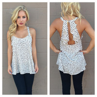 Ivory Dot Ruffle Back Sleeveless Blouse