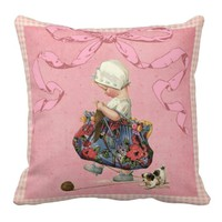 Vintage Fashion Girl Pink Ribbon Pillow