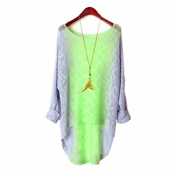 Vintage Ombre Tie Dye Long Knit Sweater Purple&Green
