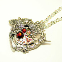 Steampunk Necklace Heart Love Takes Time Steampunk Jewelry Bird Nature Jewerly Woodland Red