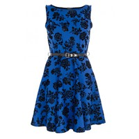 Blue and Black Glitter Flower Skater Dress