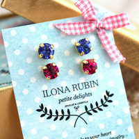 Rhinestone Studs Set Pink fuchsia,Blue Sapphire ,Swarovski Crystal earrings,pastel,gift set - Rhinestone 18k gold Thick plated earrings