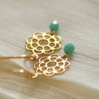 Daisy earrings - gold & turquoise flower dangles - dainty jewelry - women girls gift