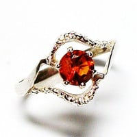 "Citrine ring, Orange ring , solitaire ring, birthstone ring orange, s 5 ""Sunburst"""