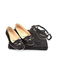 charlotte olympia - cat nap set with satin slippers, eye mask and carry case