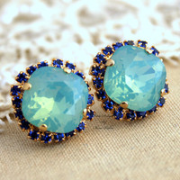 Mint Green Blue Sapphire Rhinestone stud swarovski Crystal,christmas gift,bridesmaids jewelry - 14k Gold plated post earrings rhinestones