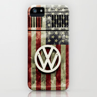 VW Retro US Flag iPhone & iPod Case by Alice Gosling