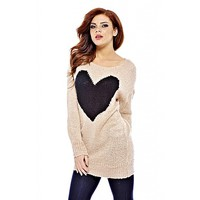 AX Paris Women's Giant Heart Knit Pink Sweater - Online Exclusive