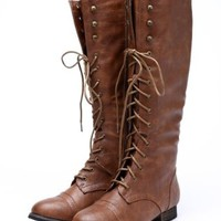 Outlaw 13 Women Military Lace Up Knee High Combat Boot Tan 11
