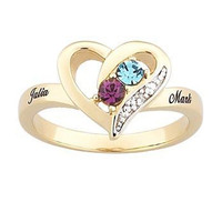 18K Gold Plate Couple's Simulated Birthstone Heart Ring with Diamond and Crystal Accents (2 Stones and Names)