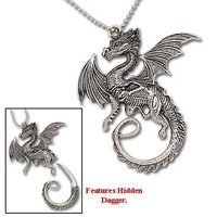 Dragon Stance Necklace w/ Hidden Dagger