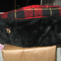 1950 scottish wool plaid and faux fur winter cap size large