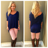 Navy V-Neck Basic Modal Top