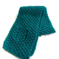 Handknit key-hole Scarf, Keyhole Scarf, Tie Scarf, Short Scarf, Winter Scarf - ON SALE
