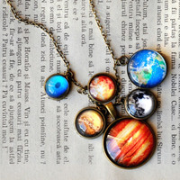 Solar System Planet Necklace Science Astronomy Glass Dome Pendants Statement Necklace
