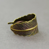 Feather Ring : RAINBOW, Antique, Bohemian Gold Feather Wrap Ring, Feather Charm, Adjustable, Leaf, Simple, Casual, Yoga, Oil Slick