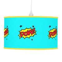 Pow! Teal & Yellow Hanging Lamp
