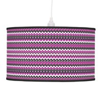Purple & Black Chevron Hanging Lamp