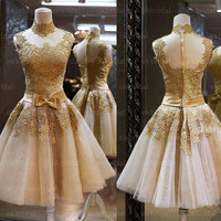 lace prom dresses, gold prom dresses, short prom dress, cheap prom dresses, prom dresses on sale, dresses for prom, RE500