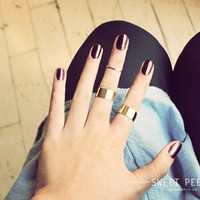 3 Gold Tube Rings, Midi Rings, Midi Ring, Above Knuckle ring, , twist ring, Stack Ring, Chevron Ring